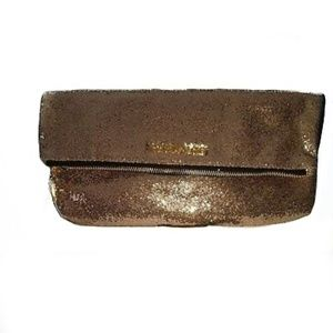Victoria's Secret Large Gold Glitter Cosmetic Bag